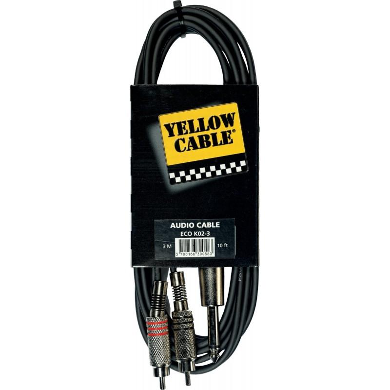 YELLOW CABLE K02-3 Câble Raccord 2 RCA Mâle / Jack Mono Mâle 3 m