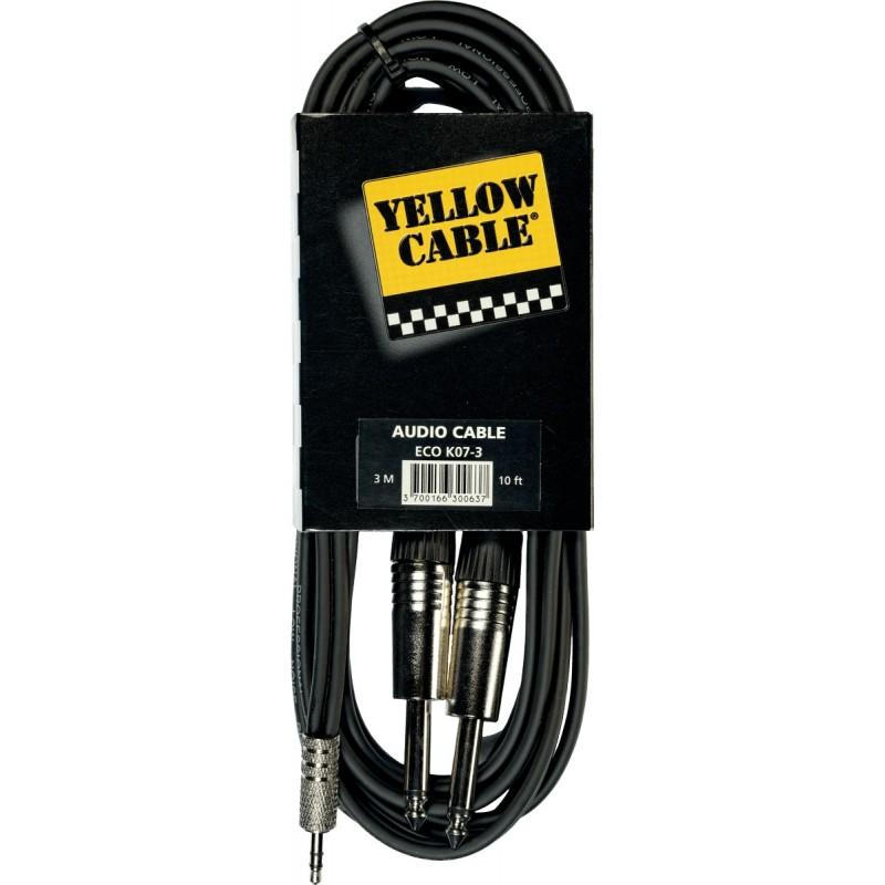 YELLOW CABLE K07M-3 Câble Raccord Mini Jack Stéréo / 2 Jack Mono Mâle 3 m