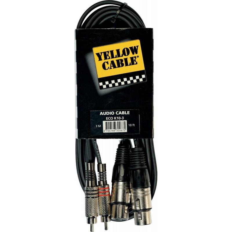 YELLOW CABLE K10-3 Câble Raccord 2 XLR Femelle / 2 RCA Mâle 3 m