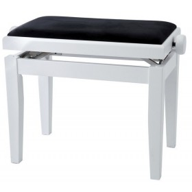 GEWA BANQUETTE PIANO DELUXE BLANC SATINE VELOURS NOIR