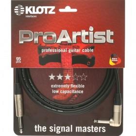 KLOTZ PRO ARTIST CABLE JACK COUDE / JACK Neutrik 6 M Noir