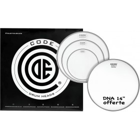 """CODE DRUMHEADS PACK DNA Transparente 10""""/12""""/14""""+ DNA 14"""""""